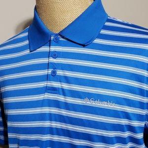 Columbia blue white striped lightweight polo